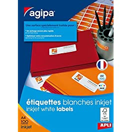 AGIPA Bte 1600 étiquette 99,1x33,9 mm (16 x 100F A4) Jet d'encre Coin Rond Permanent Blanc