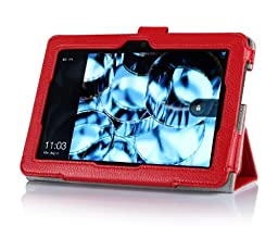 ProCase Kindle Fire HDX 7 Case with bonus stylus pen - Tri-Fold Leather Stand Cover for Kindle Fire HDX 7 inch Tablet (will only fit New Kindle Fire HDX 7 2013 released) (Red)