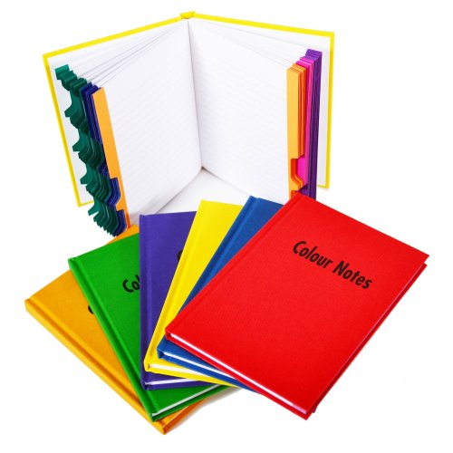 Coloured Notes Notebook with Index Assorted