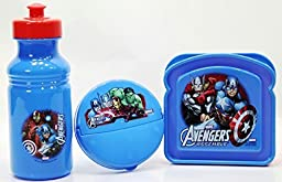 Bundle of 3 Items: Avengers Water Bottle Sandwich Container and Snack Container by Donaldsons