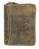 Natural Zip-around Genuine Leather Wallet Always Wild with Scorpion