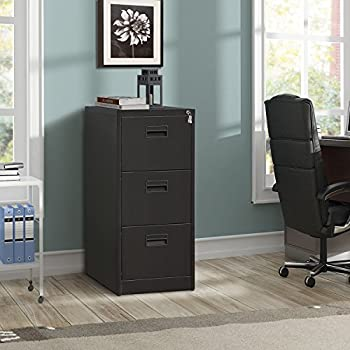 ModernLuxe Metal Lateral File Cabinet (Black, 3-Drawers:18W×24.4D×40.3H)