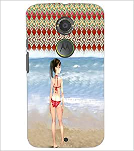 PrintDhaba Beach Girl D-2952 Back Case Cover for MOTOROLA MOTO X2 (Multi-Coloured)