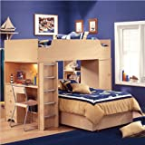 South Shore Newton L-shaped Wood Twin Over Twin Loft Bunk Bed in Natural Ma ....