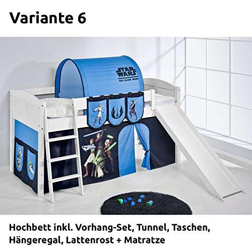 Hochbett Spielbett IDA Star Wars the Clone Wars, mit Rutsche und Vorhang, weiß, Variante 6 jetzt bestellen