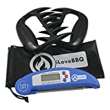Meat Thermometers & Pulled Pork Claws Set, iLoveBBQ®BBQ Meat Forks Shredding Handling & Carving Food - Grill Smoker Instant Read Thermometer - Best BBQ Set for Grill Smoker or Slow Cooker - BPA Free & FDA Approved - Safe and Sound to Enjoy Foods