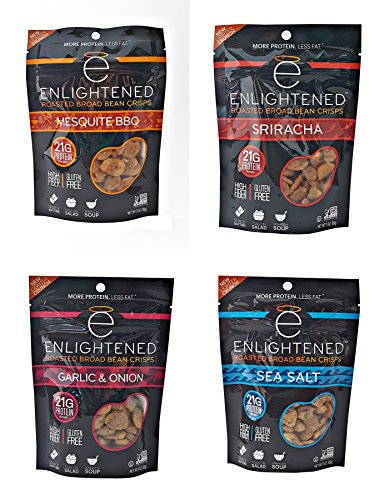 Enlightened - The Good for You Crisp Roasted Broad Beans Variety Pack 3 Ounce (Pack of 4) Garlic & Onion, Sriracha, Sea Salt, BBQ (Roasted Garlic And Sea Salt Chips compare prices)