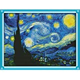 Joy Sunday Cross Stitch Kits Sweing Patterns Starry Night of Van Gogh 11CT Stamped DMC Printed Fabric Cross-Stitch Hand Embroidery Kit 23'' x18'' (Color: Starry Night of Van Gogh)