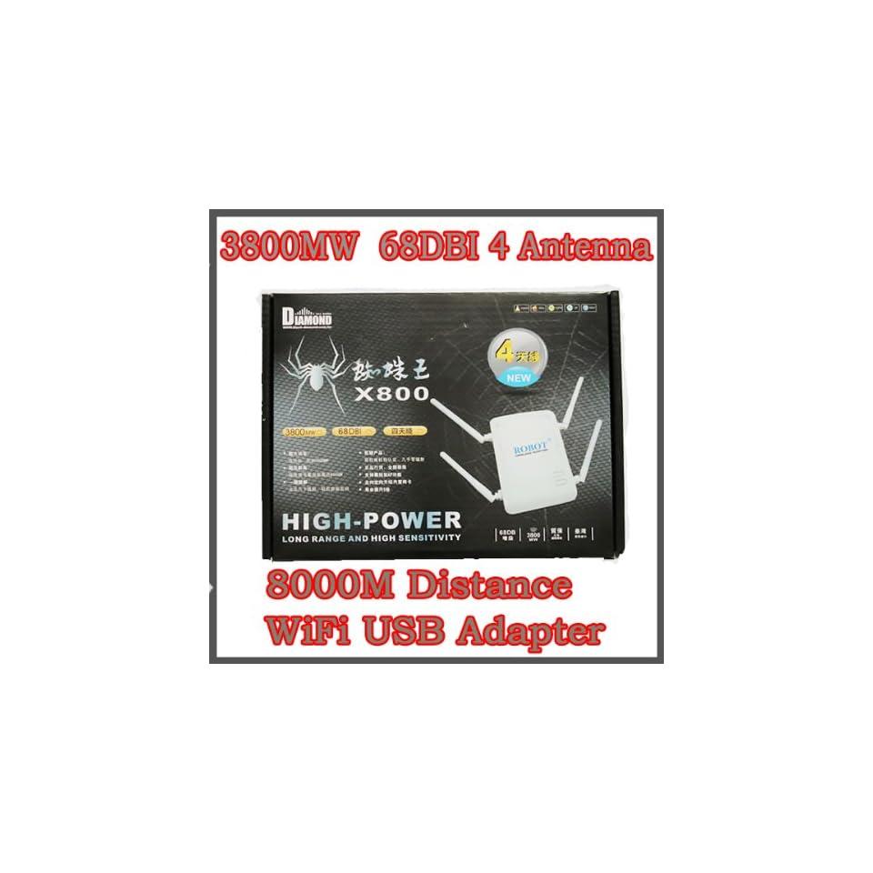 New High Power 3800MW 68DBI 4 Antenna 8000M Distance Wireless WiFi USB Adapter