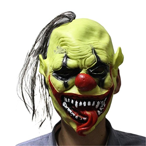 [Halloween Horror Masks Green Adult Toothy Clown Costume Party Scary Mask Cosplay Prop Fancy Dress] (Witch Doctor Costume Diy)