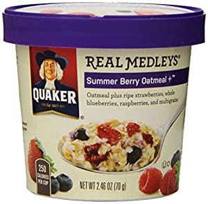 Quaker Real Medleys Summer Berry Oatmeal +, (Pack of 12)
