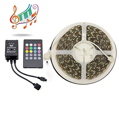 Binzet 5M 5050 300Leds Waterproof Music Led Strip Light Kit Rgb Led Ribbon + 20Key Ir Music Remote Controller For Wedding Party Christmas Diy Led Light (Power Supply Not Included)