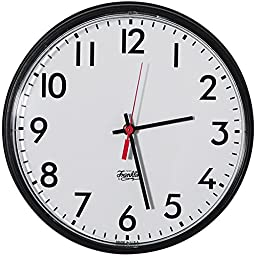 Outdoor Analog Wall Clock, Black Frame/White Face, Battery Operated