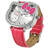 Ladies Hello Kitty metal cased watch with syn leather strap - hot pink