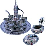 Jaipur Raga White Metal Antique Wine Set And Shiny Gemstone Ash Tray
