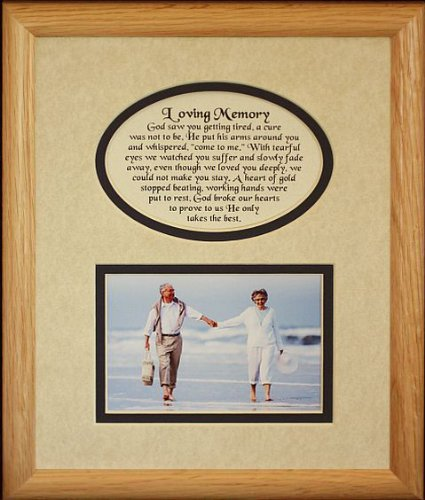 8x10 LOVING MEMORY Picture & Poetry Photo Gift Frame ~ Cream/Navy Blue Mat * Memorial * Bereavement * Sympathy * Condolence Picture and Poetry Keepsake Gift Frame