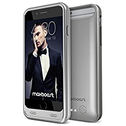 iPhone 6S Battery Case, Maxboost [VIVID Series] Protective Battery Charging Case for iPhone 6/6S 3100mAh iPhone Portable Charger External Power Case - Platinum Gray