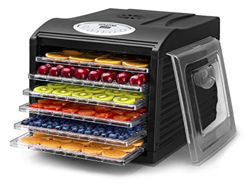 Gourmia GFD1650B Premium Countertop Food Dehydrator, With 6 Drying Shelves, Digital Thermostat, 8 Preset Temperature Settings, Airflow Circulation, Countdown Timer - Black (Dehydrators compare prices)