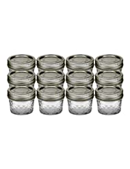 Ball 80400 Can or Freeze Quilted Crystal Jelly Jars, 4oz, Silver Lids by