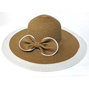 Special 2 Pcs Wholesale Lots Classic Straw Hat Wide Brim Straw Cloche Bow Hat with Bowknot