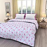 ECraftIndia Pink Floral Printed Double Bed Reversible AC Blanket