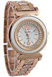 Timiho White Dial And Gold Strap Crystal Studded Watch For Women