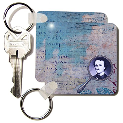 Kc_173506_1 Cassie Peters Poe - Poe In A Mirror Digital Art By Angelandspot - Key Chains - Set Of 2 Key Chains