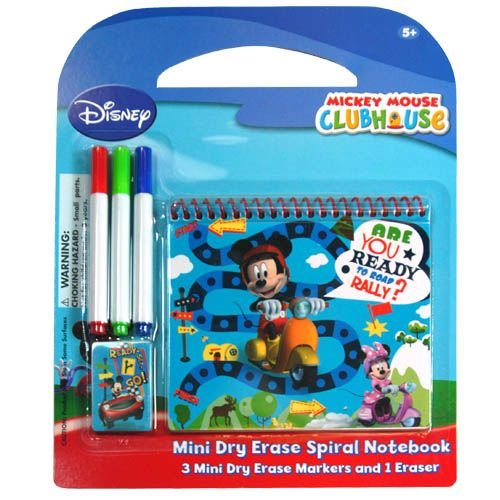 Disney Mickey Mouse 5 Piece Personalized Study Kit/stationery Set, School Supplies with 1 Dry Erase Note Pad, 3 Wipe-off Markers, 1 Wipe Off Cloth