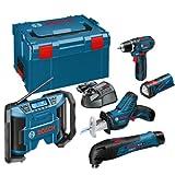 Bosch 10.8V Li-Ion Cordless KIt with GSR10.8-2-LI Drill Driver, GOP10.8V-LI Oscillating Multitool, GSA10.8V-LI Reciprocating Saw, GML10.8V-LI Radio & GLI PowerLED Torch complete with 3 x 1.5Ah batteries, Charger and L-Boxx Carry Case )5 Pieces)