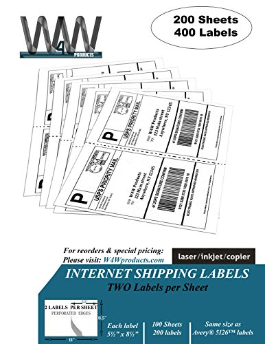 """Double Pack, [200 Sheets - 400 Labels] High Quality 2-up Half Sheet Self Adhesive Internet Shipping Labels, 5.5"""" x 8.5"""" - Comparable to Avery 5126 & 8126 size label stickers"""