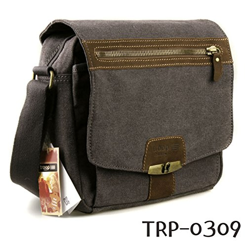new-troop-london-trp-0309-casual-shoulder-bag-leather-canvas-fabric-lightly-waterproof