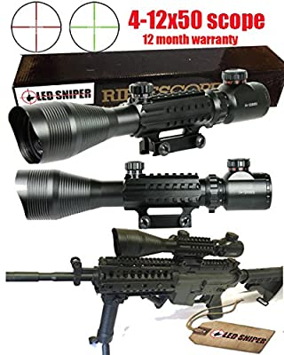 Ledsniper®4-12x50 Eg Optical Rifle Scope Mil-dot Dual Illuminated w/ Side Rails & Mount by Ledsniper®