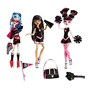 Monster High Ghoul Spirit Action Figure Doll 3Pack Draculaura, Cleo de Nile Ghoulia Yelps