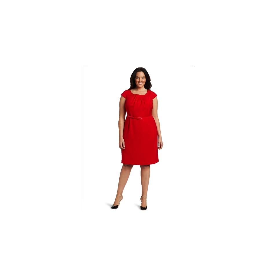 AK Anne Klein Womens Plus Size Double Weave Dress
