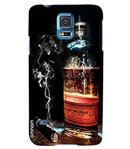 Omnam Cigar And Whisky Combination Printed Designer Back Cover Case For Samsung Galaxy S5