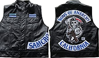 veste gilet en cuir sans manche style jax sons of anarchy v tements et accessoires. Black Bedroom Furniture Sets. Home Design Ideas
