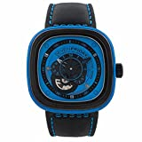 Seven Friday P1-4 Automatic Ion Plated Stainless Steel Case Black Leather Mineral Men's & Women's Watch (Color: blue)