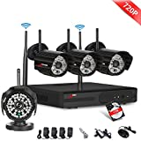ANRAN 4ch WIFI 720P NVR Wireless IP Security Camera System with 4 outdoor/Indoor 720P Day Night Vision 48 IR IP Camera with 1TB Hard Drive Plug&Play Home Video Monitoring