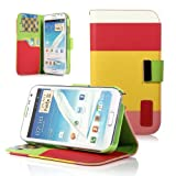 ATC Premium Folio Wallet Case for Samsung Galaxy Note 2 Note II N7100 (Red+Yellow+Pink)