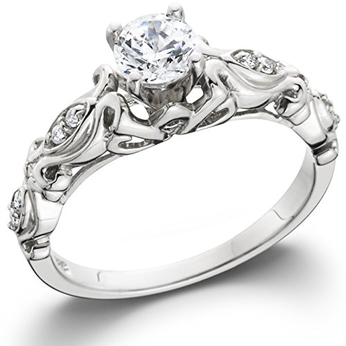 1/2CT Vintage Diamond Engagement Ring 14K White Gold
