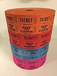 Raffle Tickets - (4 Rolls of 2000 Double Tickets) 8,000 Total 50/50 Raffle Tickets (4 Assorted Colors) (PURPLE-BLUE-RED-ORANGE)