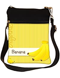 Snoogg Bright Organic Banana Card In Vector Format Cross Body Tote Bag / Shoulder Sling Carry Bag