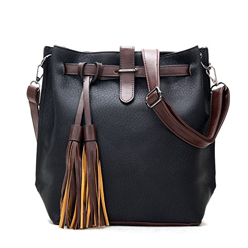 koson-man-womens-classical-vintage-frosted-soft-leather-bucket-bags-tassels-tote-bagsblack