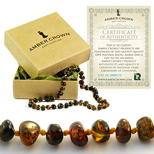 Amber Teething Necklace for Babies - Anti Inflammatory, Drooling and Teething Pain Reducing Natural Remedy - Polished Greenish Certified Baltic Amber Beads