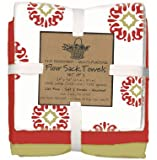 Kay Dee Designs Café Express Collection Medallion Flour Sack Cotton Towels, 26-Inch by 26-Inch, Cinnabar, Set of 3