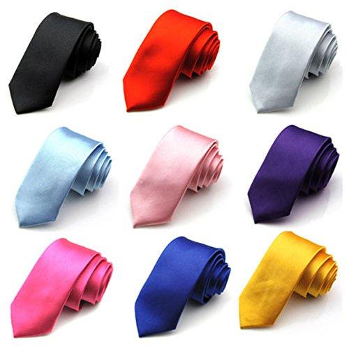 Men'S Solid Neck Ties Casual Slim Plain Party Wedding Formal Silk Stain Neckties Neck Ties Various Colors (Light Blue)