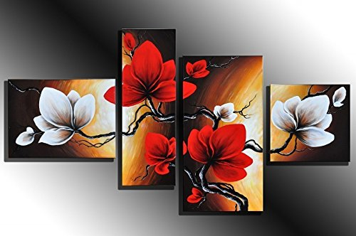 Cherish Art 100% Hand Painted Oil Paintings Gift Red And White Flowers 4 Panels Wood Inside Framed Hanging Wall Decoration