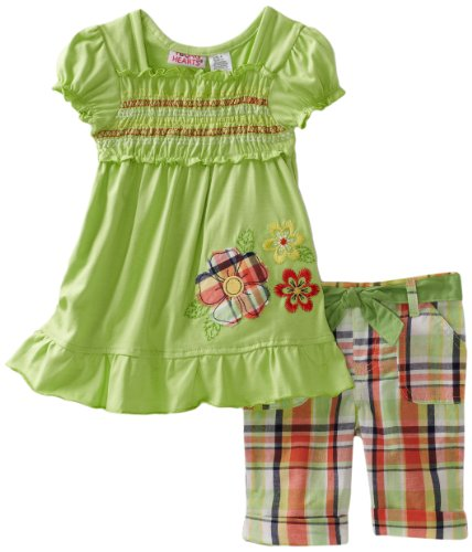 Cheap Young Hearts Toddler Girls Floral Embroidery Jersey with Woven Plaid Bermuda Pant Set