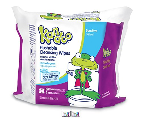 Kandoo Flushable Kids Wipes, Sensitive, 100 Count Refills (Pack of 6) (Wet Wipes Toddler compare prices)