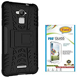 Tidel Hybrid Military Grade Armor Kick Stand Back Cover Case for CoolPad Note 3 (Black) With Tidel 2.5D Tempered Glass